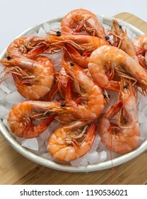 Close-up of a tray of shrimp