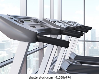 Closeup of treadmills in room with windows and New York city view. 3D Rendering