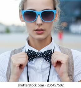 Closeup of trendy girl face
