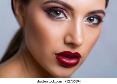 Closeup of a trendy winter makeup