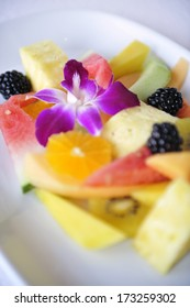 A close-up of the tropical fruit salad, Caribbean Sea