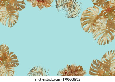 Close-up of a tropical monster painted in large shiny gold leaves a border frame on a bright blue background.