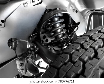 Closeup of truck coil spring suspension