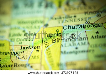 Closeup Tupelo Mississippi On Political Map Stock Photo Edit Now