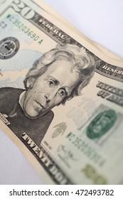 Close-up of twenty dollars banknote. Small DOF