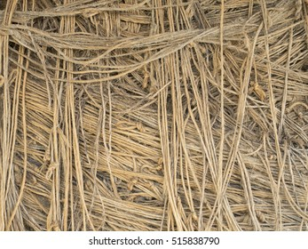 Closeup of twine bale, showing the knots and strands of fiber twisted into strands