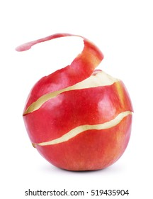 Closeup of twisted peel of red apple isolated on white background