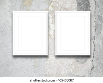 Closeup Two Blank White Picture Frames Stock Photo Edit Now