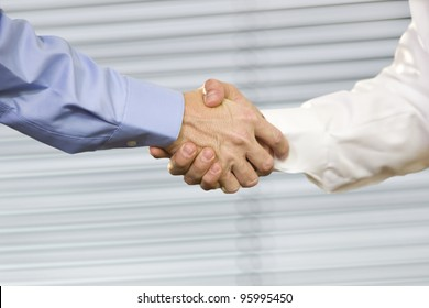 Closeup of two Caucasian men shaking hands.