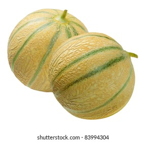 Close-up of two muskmelon Cantaloupe, isolated on a white background