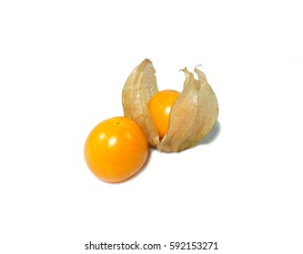 Close-up of two ripe bright yellow Cape gooseberries, one whole and one in calyx isolated on white background