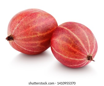 Closeup of two ripe red gooseberry berry isolated on white background with clipping path