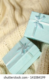 Close-up of two turquoise gift boxes. Boxes for jewelry