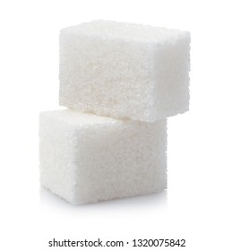 Close-up of two white sugar cubes, isolated on white background