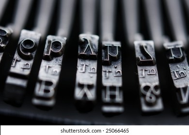 Closeup of typewriter keys with limited depth of field.
