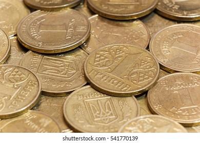 Closeup Ukrainian coins of one hryvnia