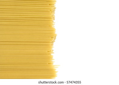 Closeup of uncooked spaghetti with copy space
