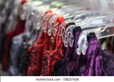 Close-up of underwear in a hangar shop. Concept shopping. Shallow depth of field.
