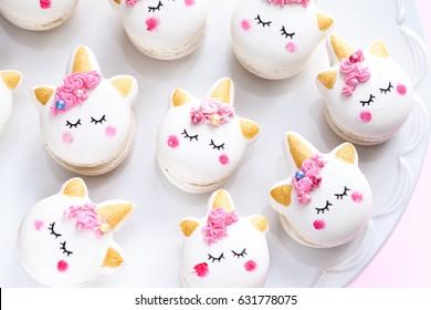 Closeup of unicorn macaron cookies