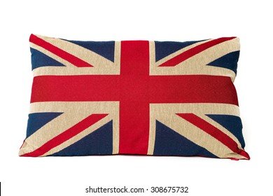 Closeup of union jack cushion