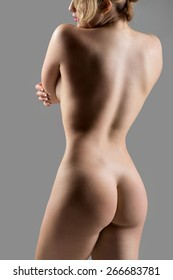 Close-up of unrecognizable sexy naked beautiful young woman, back view, weight loss, health and skincare concepts