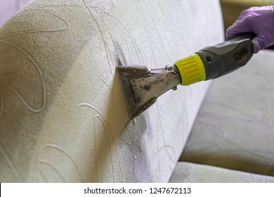 Closeup of upholstered Sofa chemical cleaning with professional extraction method.  man hands in rubber gloves hold hoover nozzle
