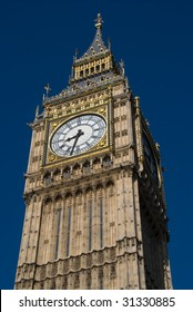 Close-up of the upper section of the tower of Big Ben, taken from Westminster Bridge