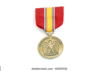 Closeup of US Army National Defense Medal isolated on white.