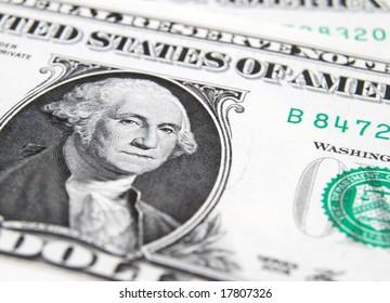 Closeup of US dollar focused on President Washington