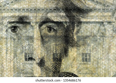 Close-up at US president Jackson's face, highly magnified surface of used 20 dollars note with visible details of cotton fiber paper, with all flaws, watermarks and traces of usage.