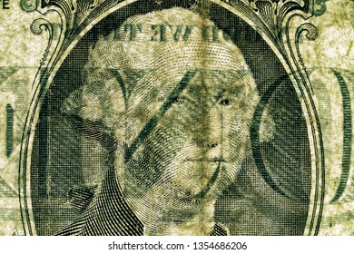 Close-up at US president Washington's face, highly magnified surface of used one dollar banknote with visible details of cotton fiber paper, with all flaws, watermarks and traces of usage.