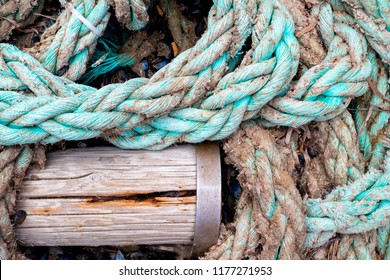 Closeup of used braided blue marine nylon rope