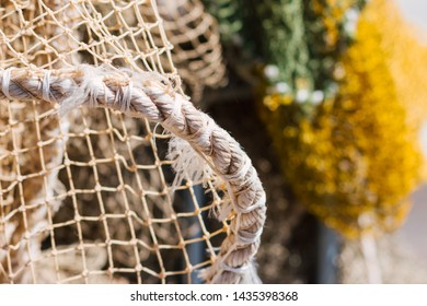 Closeup of used marine nylon rope