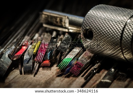 Closeup Used Tattoo Needles Covered Colorful Stock Photo (Edit Now ...