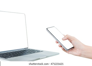Close-up of using mobile phone isolate on white background. Clipping path