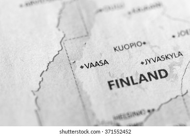 Closeup of Vaasa, Finland on a political map of Europe. (black and white)