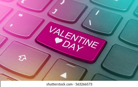 Close-up the Valentine day button on the keyboard and have pink color button