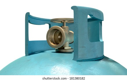 A closeup of the valve of a clean unbranded blue metal gas cylinder on an isolated white background