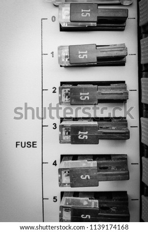 closeup various fuses fuse box inside stock photo edit now close up of various fuses in fuse box inside the bts base transceiver station
