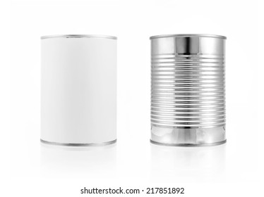 Close-up various metal and white tin can on white background separated shot. Include clipping path in both object.