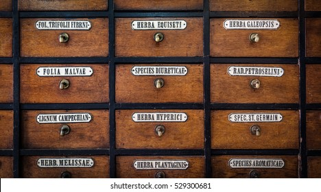 Close-up of a very old apothecary cabinet
