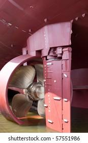 closeup of vessel's propeller