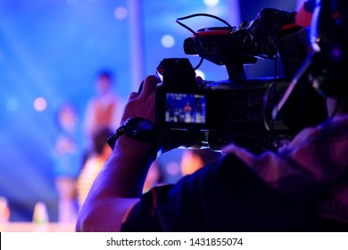 close-up of video camera operator in studio