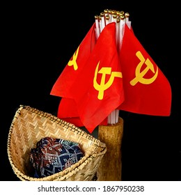 A closeup of the Vietnam communist flaglets on a black background
