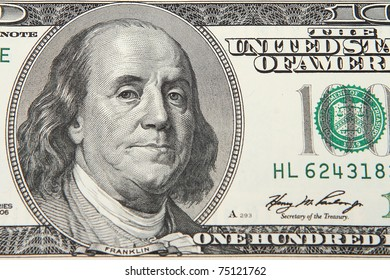 Close-up view of a 100 dollar United States treasury note