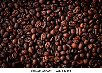 Close-up view from above of freshly roasted coffee beans