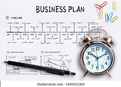 Close-up view from above of a professional desk with an alarm clock, colored paper clips and a pen on a complex written business plan with copy space