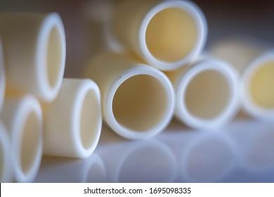 Closeup view of alumina tubes (technical ceramics)