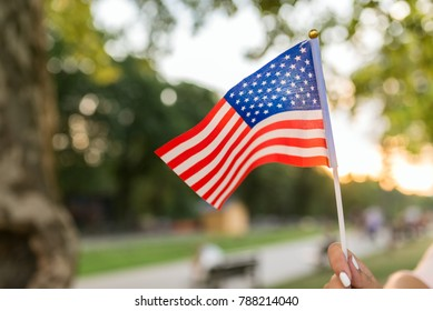 Close-up view of American flag in the public park