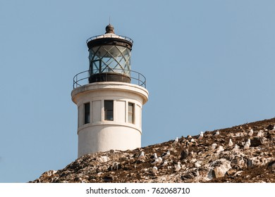 Close-up view of Anacapa lighthouse on Anacapa Island in Southern California, part of the Channel Islands National Park.